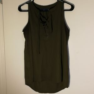 Apt 9 Camouflage/Army Green Lace Up Tank Top